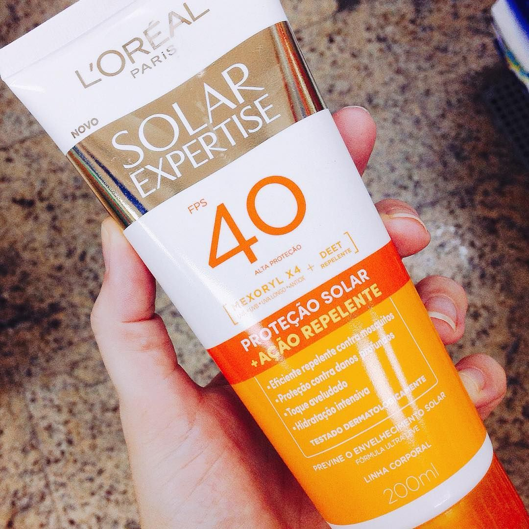 Protetor Solar Loreal Solar Expertise Com Repelente A Conhecida Formula Com Mexoryl X4 Com Defesa Antioxidante E O Ati Por Do Sol Antioxidante Protetor Solar