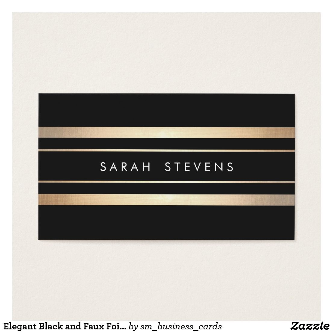 Elegant Black And Faux Foil Gold Striped Modern Business Card