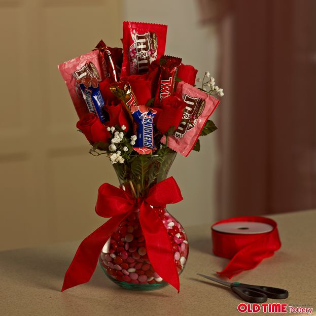 How To Make Chocolate Flower Basket : Neat idea a candy flower arrangement how cute diy