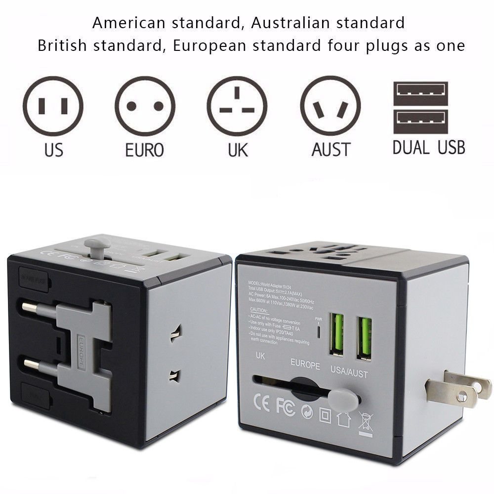 Universal Power Outlet Adapter Electric Converter Dual-USB Worldwide Plug White