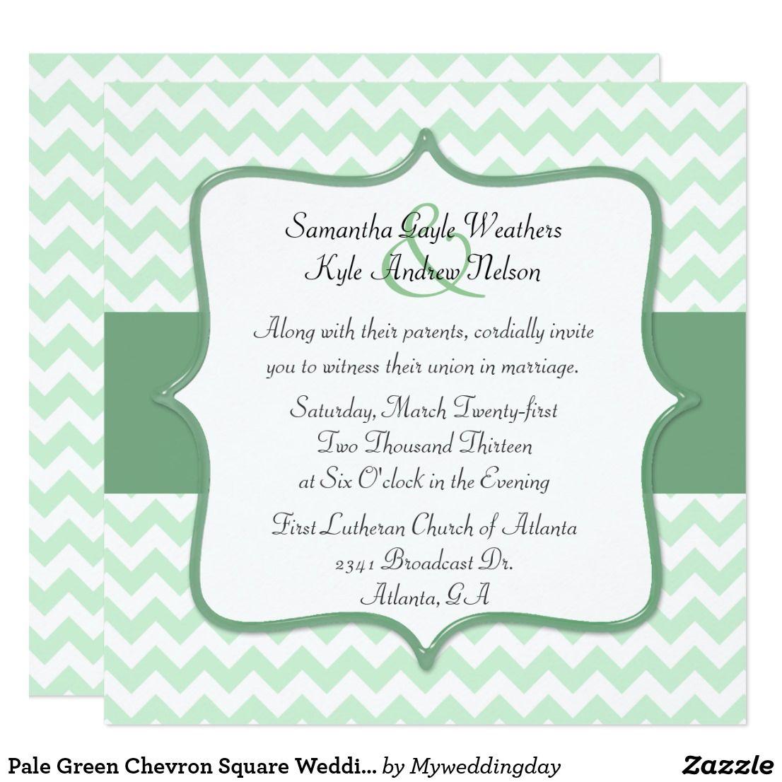 Pale Green Chevron Square Wedding Invitation Square Wedding