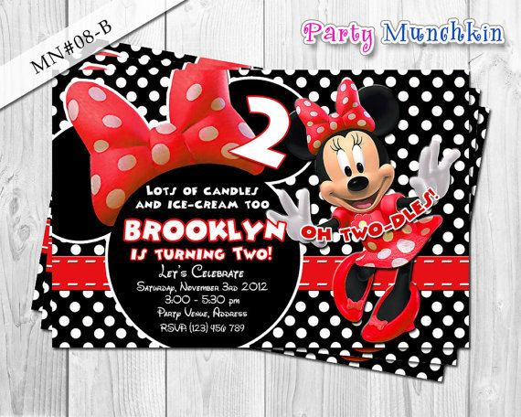 Favorite MINNIE MOUSE  Invitations Invites by PartyMunchkinShoppe, $10.00