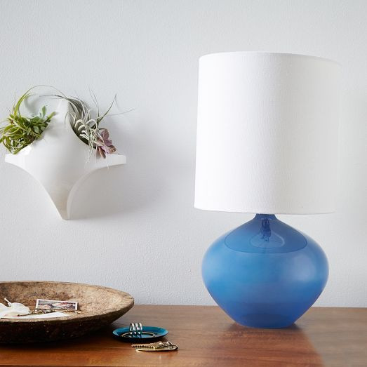 Teeny Tiny Table Lamp! Navy Nook Glass Vessel Lamp | West Elm