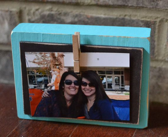 Turquoise and Brown Chunky Display Block  5x7 by thingsfromacloud, $10.00