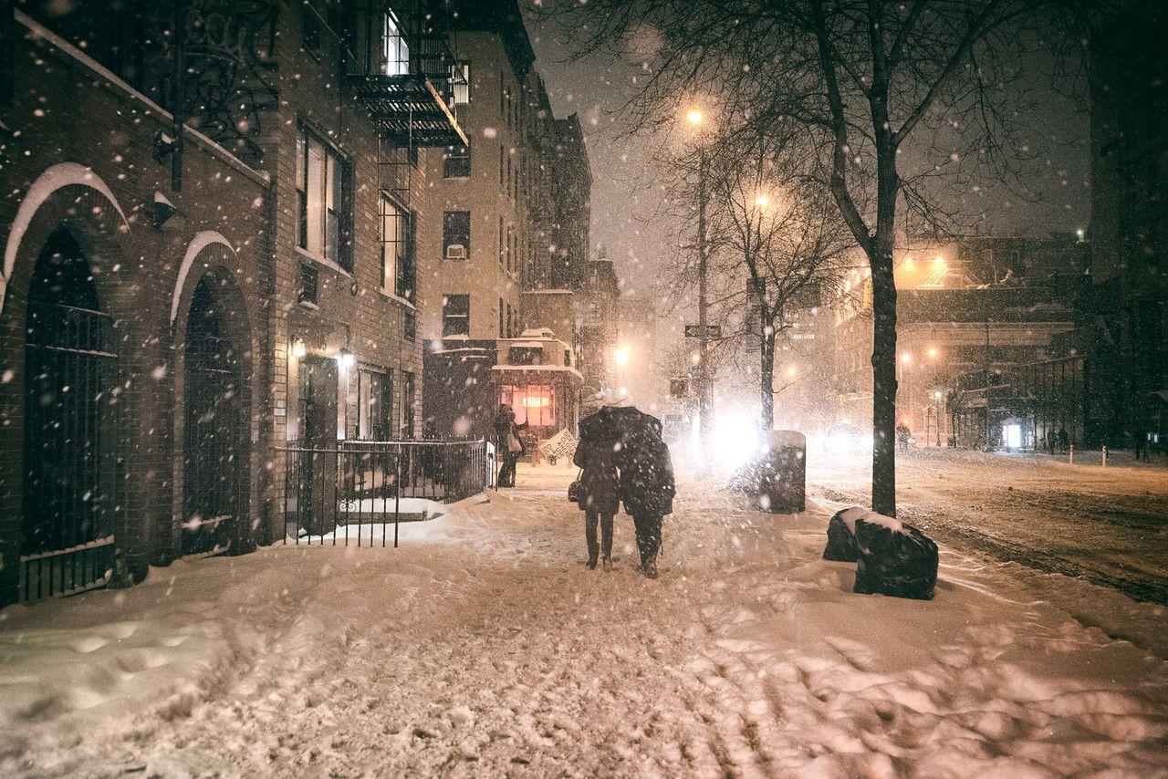 New York City Snow Winter Night Under An Umbrella New York