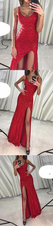 Mermaid scoop floorlength red lace prom dress with sequins split