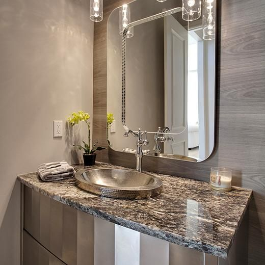 Glam Powder Room This Hand Hammered Brushed Nickel Sink Combines A Feminine Sparkle With