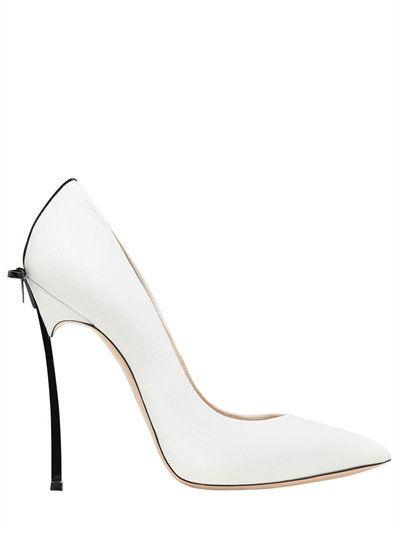 1c69e7344 CASADEI - 120MM BLADE BOW LEATHER PUMPS - WHITE/BLACK   shoes ...