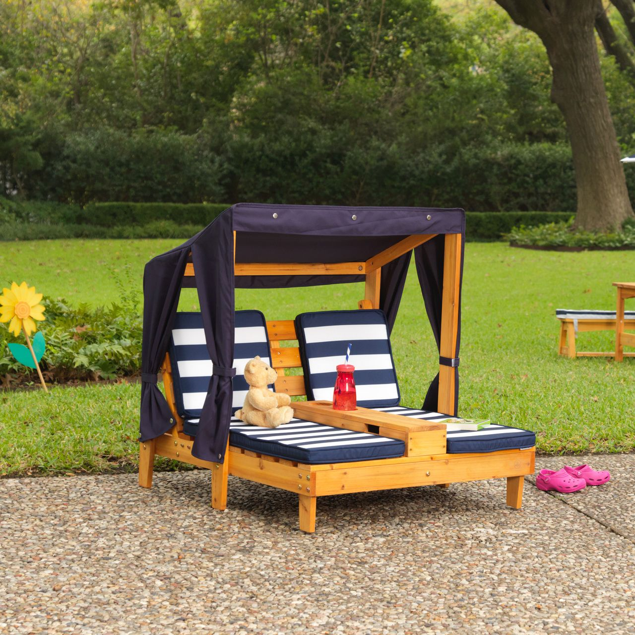 Kidkraft Double Chaise Lounger Honey And Navy Kids Outdoor