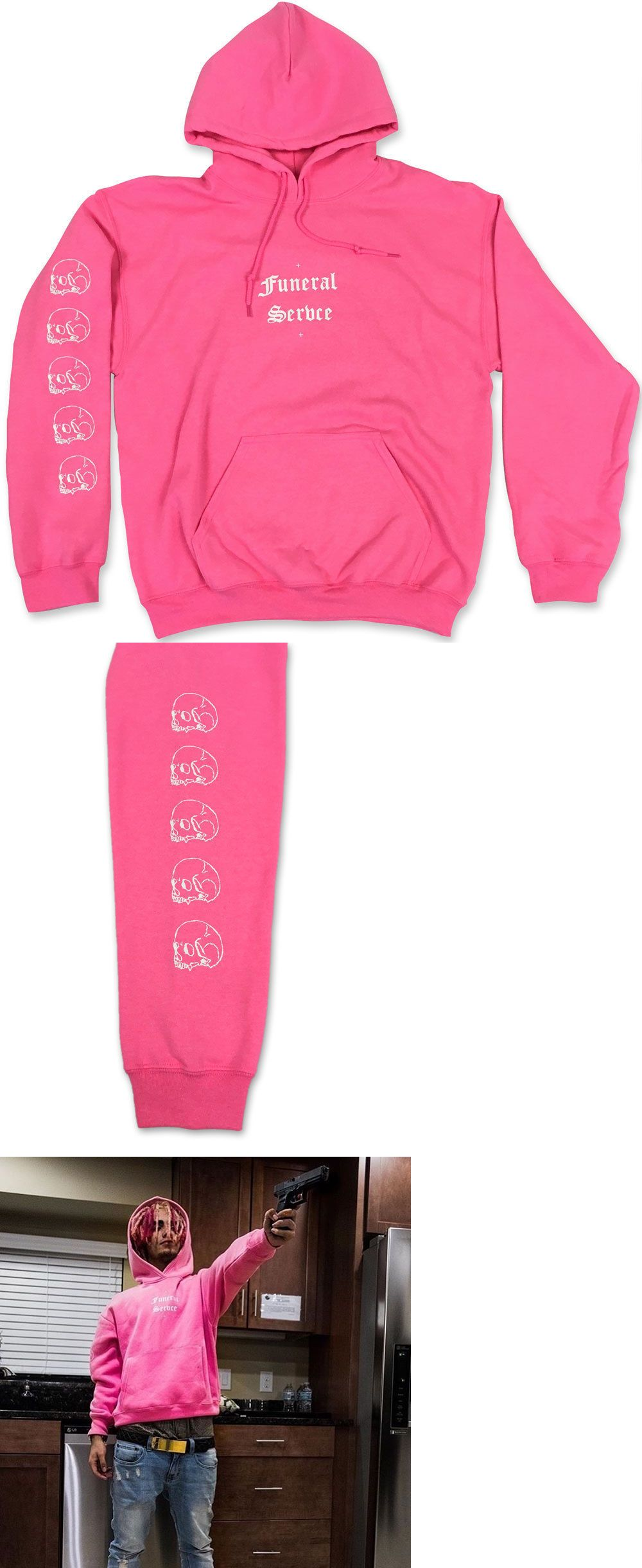 Sweats and Hoodies 155183: Funeral Servce Unisex Pink Hoodie - Whitechapel  Lil Pump Lil Purpp