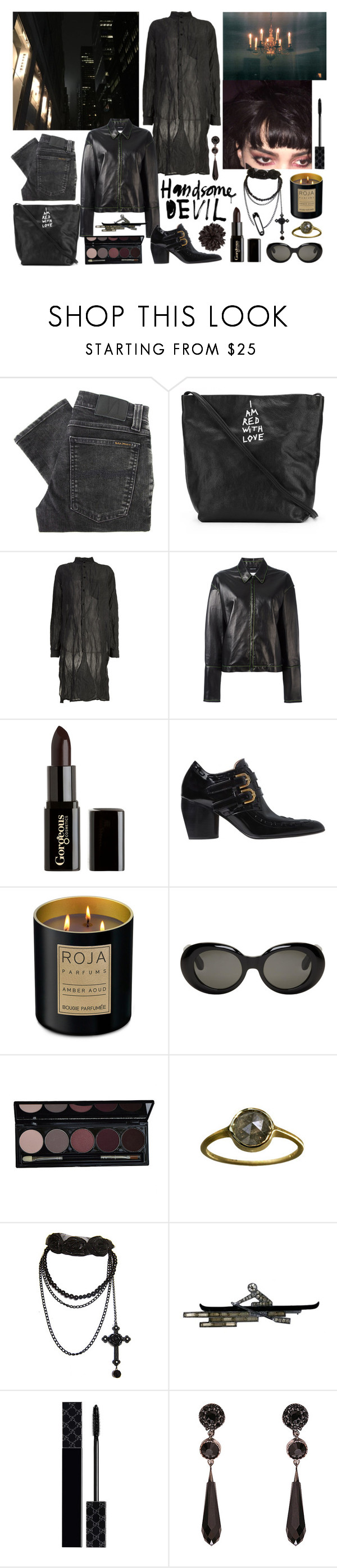 """""""somebody mixed my medicine again"""" by nothingisnormal ❤ liked on Polyvore featuring Nudie Jeans Co., Ann Demeulemeester, Yang Li, Maison Margiela, Gorgeous Cosmetics, Joseph, Roja Parfums, Acne Studios, Gucci and Givenchy"""