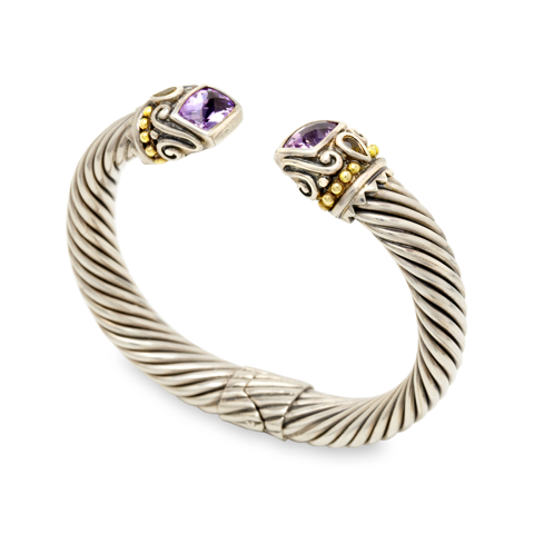 Amethyst and Citrine Sterling Silver Twisted Cable Bangle with 18K Gol | Cirque Jewels