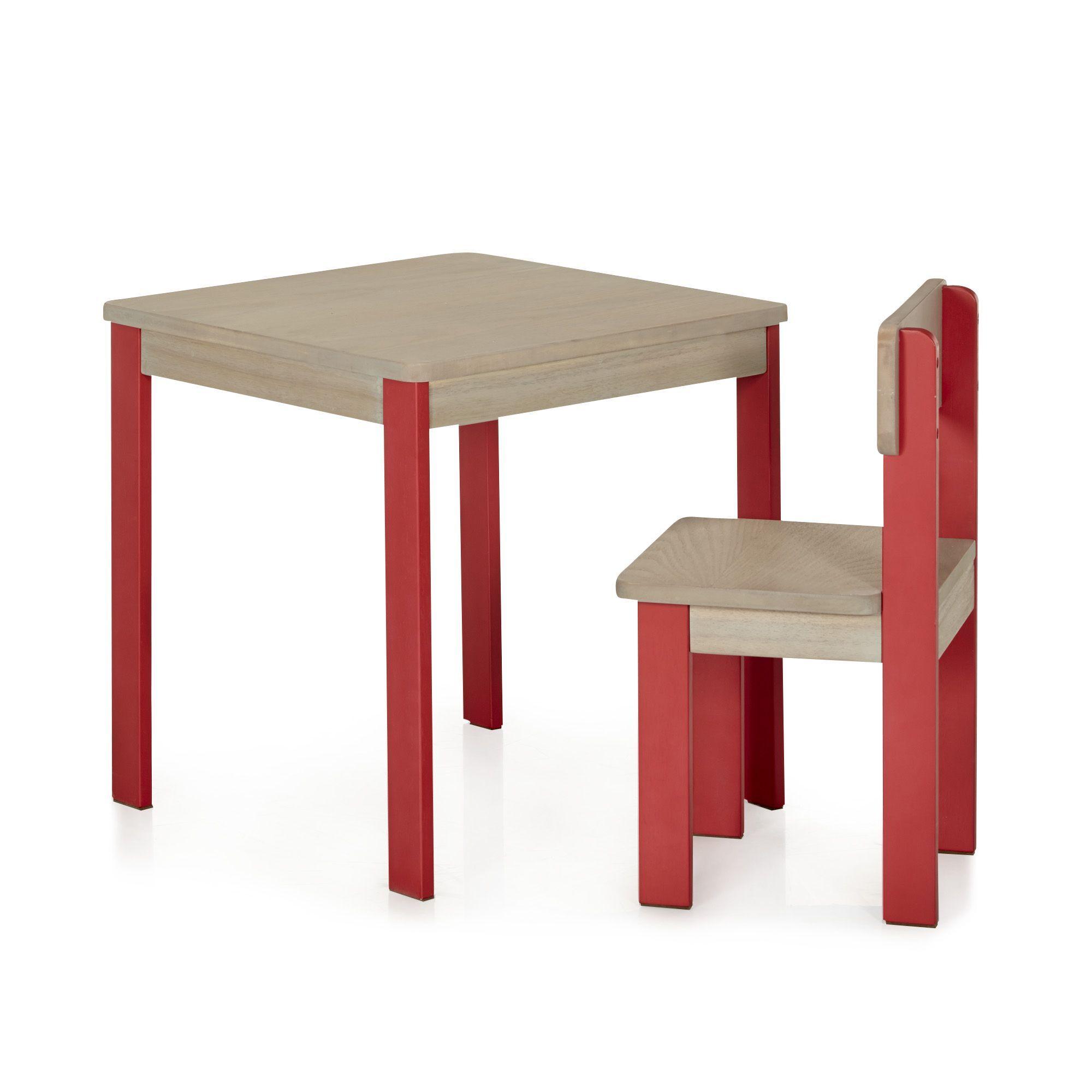 Accessoire Salle De Bain Pour Bebe ~ Table Et Chaise Rouges Pour Enfant En Acacia Rouge Acaya Les