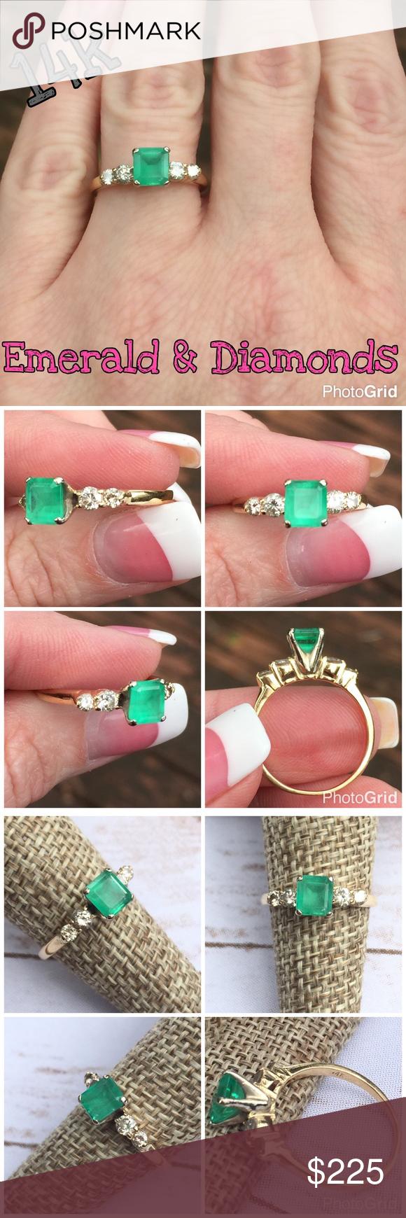 Beautiful 14k Emerald & 0.25 cttw Diamond Ring | Emerald diamond ...