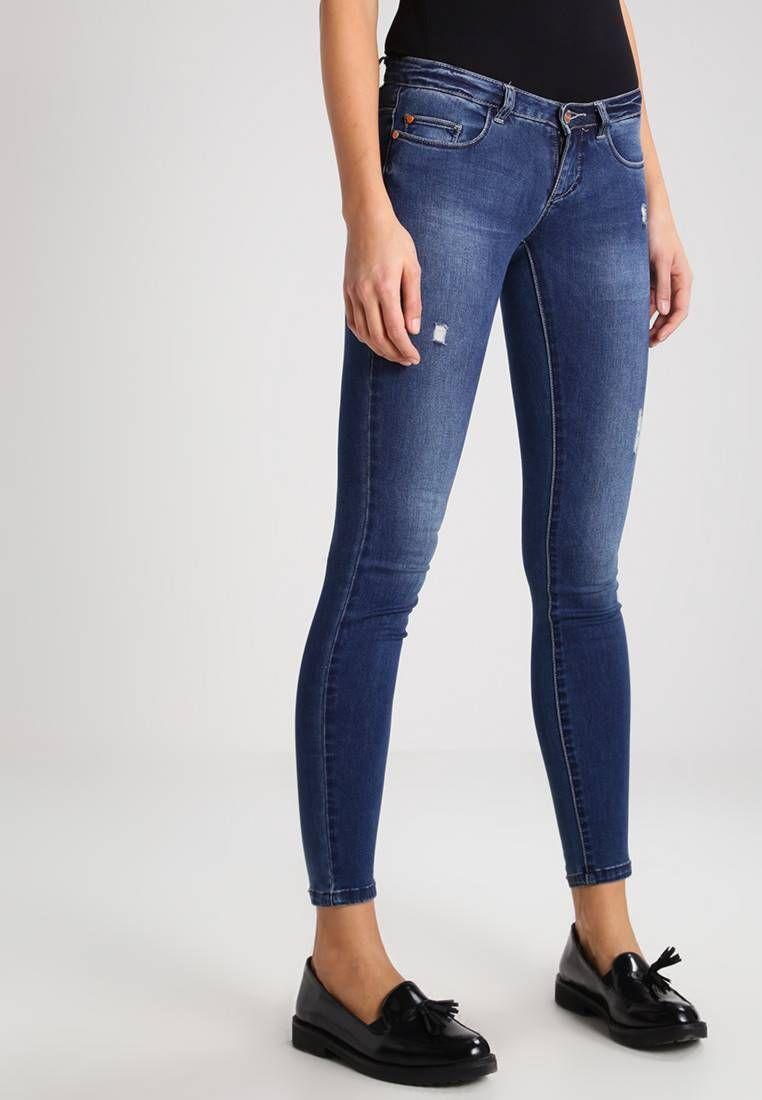 9db11fd573 ONLY. Jeans Skinny Fit - medium blue denim. Verschluss:verdeckter Zip-Fly