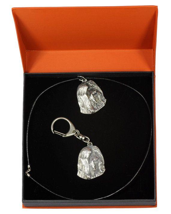 Set of Earrings and Bracelet Art Dog Ltd Photo Jewelry Bearded Collie Handmade