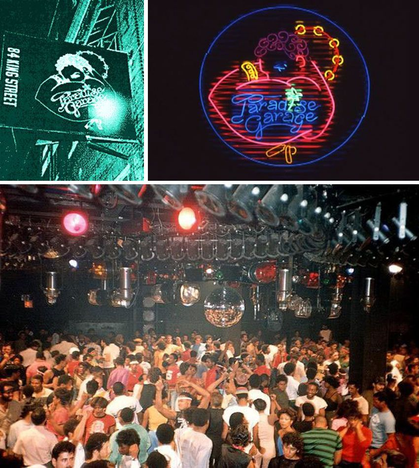 Paradise Garage, located at 84 King Street, New York, NY, opened in 1976. It was home to DJ Larry Levan. The neon logo (a dancer with a tambourine and the words 'Paradise Garage' tattooed on his arm) was located at the top of the entrance ramp.