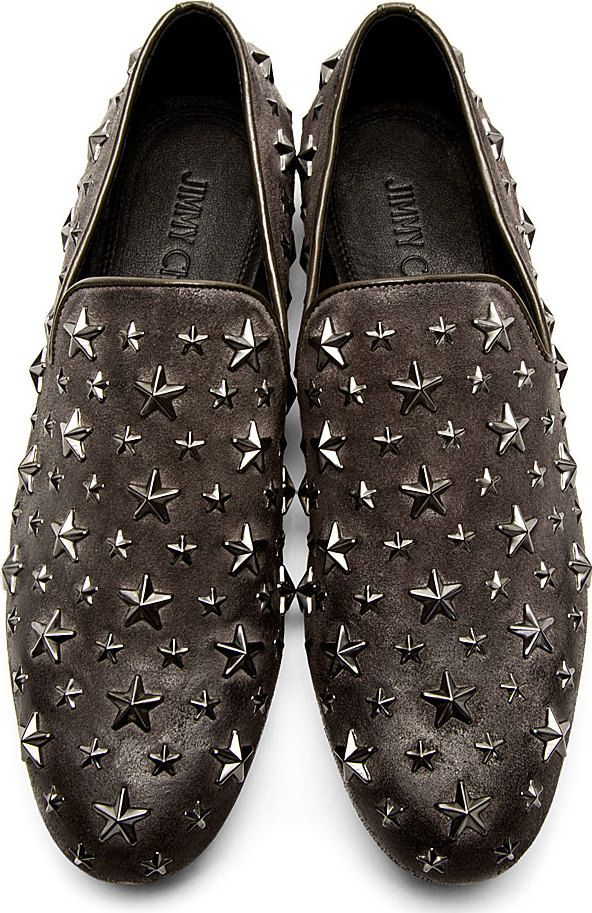 Jimmy Star A Choo Grey Loafers 'sloane' In Studded For Pair I6qCFwU
