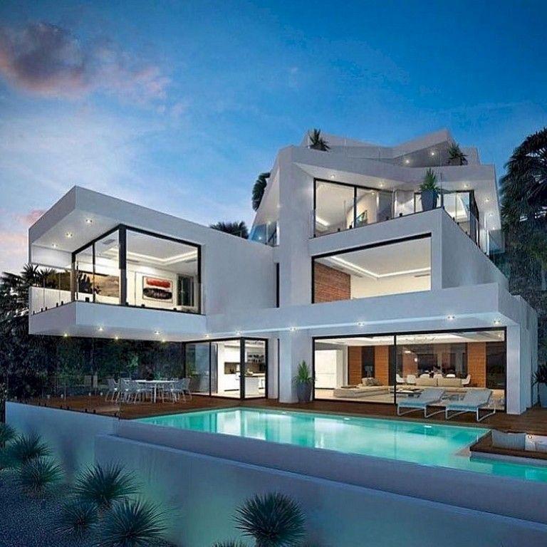 96 Amazing Latest Modern House Designs Architecture Homedecorideas Homedecorating Homede Luxury Homes Dream Houses House Architecture Design Modern Mansion