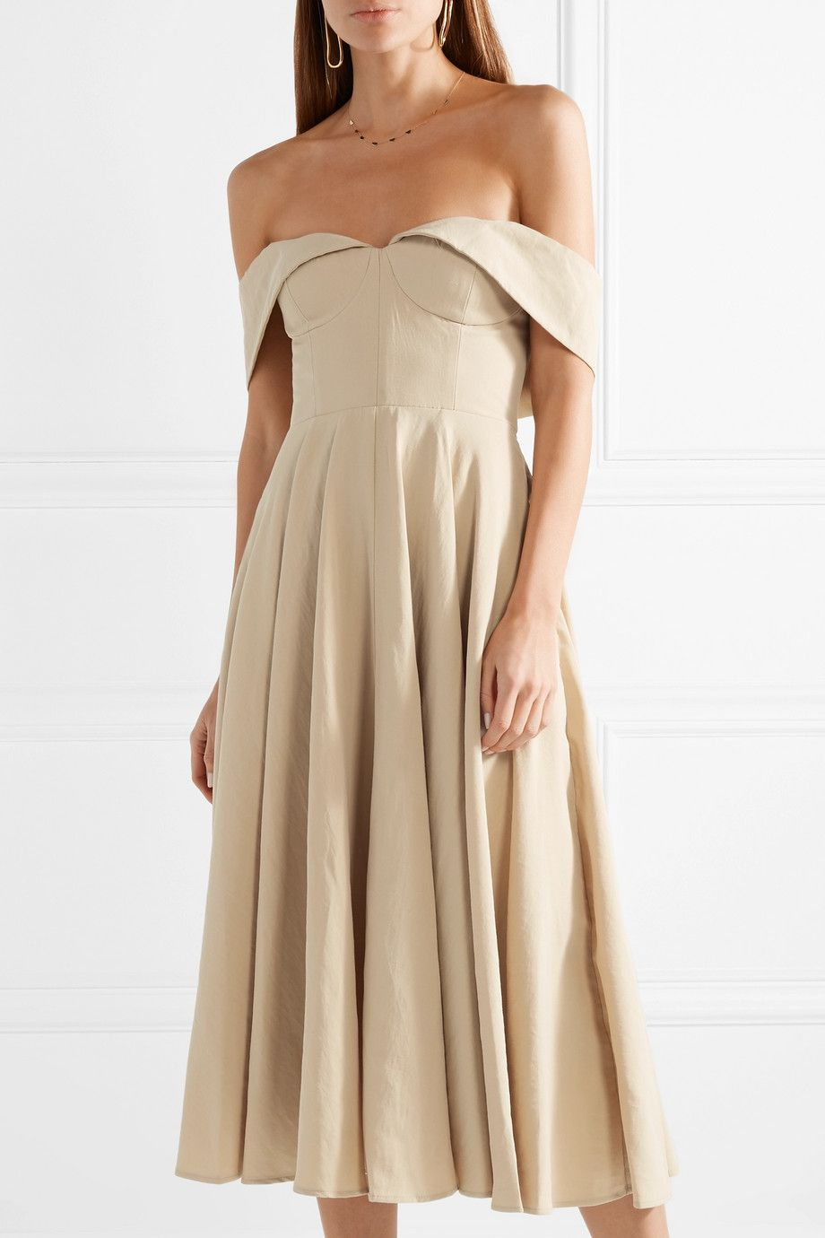 Cool Off-the-shoulder Cotton And Linen-blend Midi Dress - Beige Co Outlet View Purchase Cheap nROGTWDAm