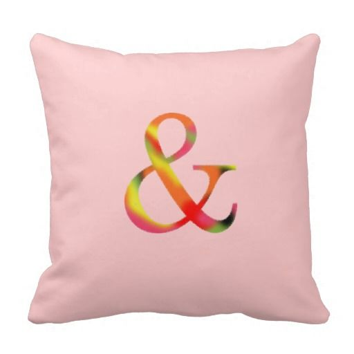 Ampersand Pillow Pink Red Floral Color And Symbol $31.95 zazzle.com/mikaart