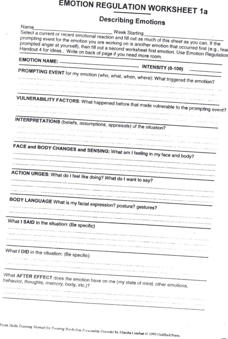 Worksheet:Emotional Regulation Worksheets Healing From Bpd