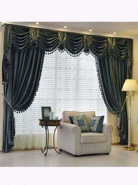 New Arrival Denali Grey And Black Waterfall And Swag Valance And Sheers Custom Made Chenille Velvet Curtains