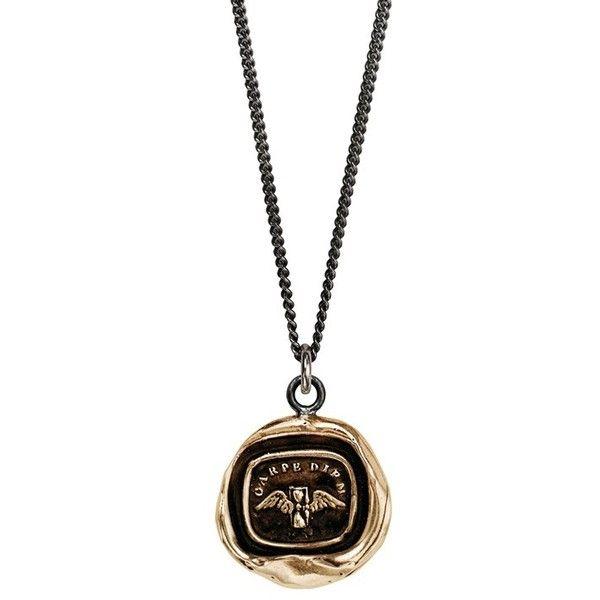 Pyrrha 'Carpe Diem' Talisman Pendant Necklace ($182) ❤ liked on Polyvore featuring jewelry, necklaces, silver, antique pendant, antique jewellery, pyrrha, hand stamped necklace and wing pendant necklace