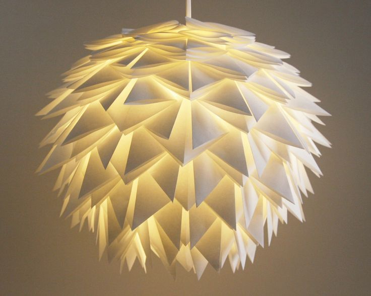 The Brooks Pendant Light White Spiky Origami by AsterandQuail