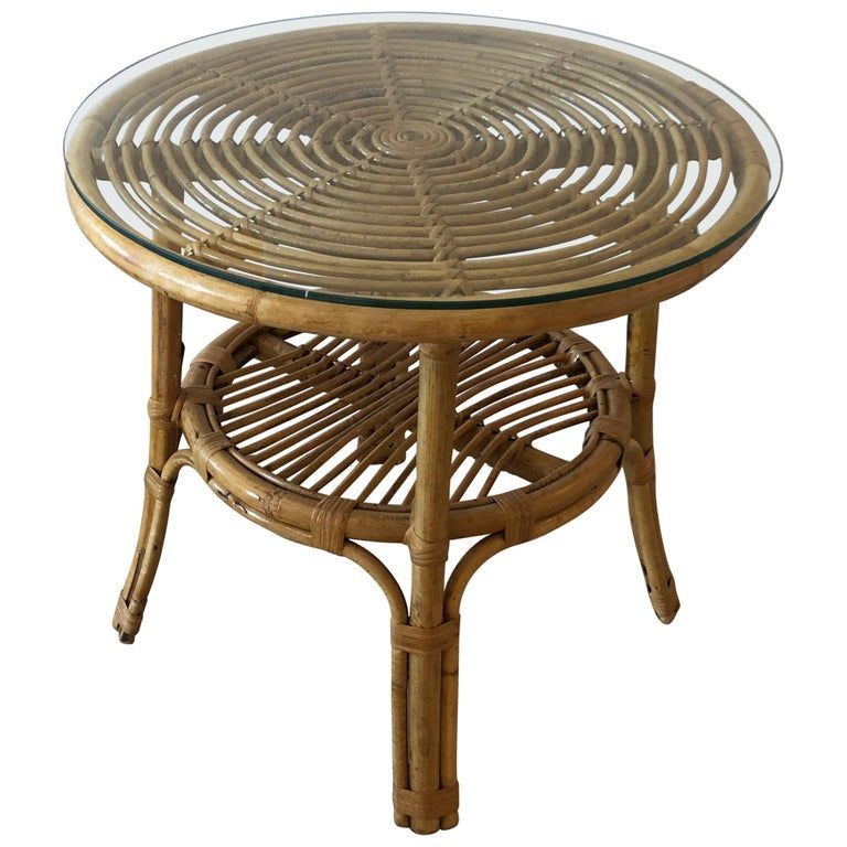 Stylish Versatile Bamboo Rattan 2 Tier Round Side End Or Drinks Table Bamboo Furniture Diy Rattan Small Round Side Table