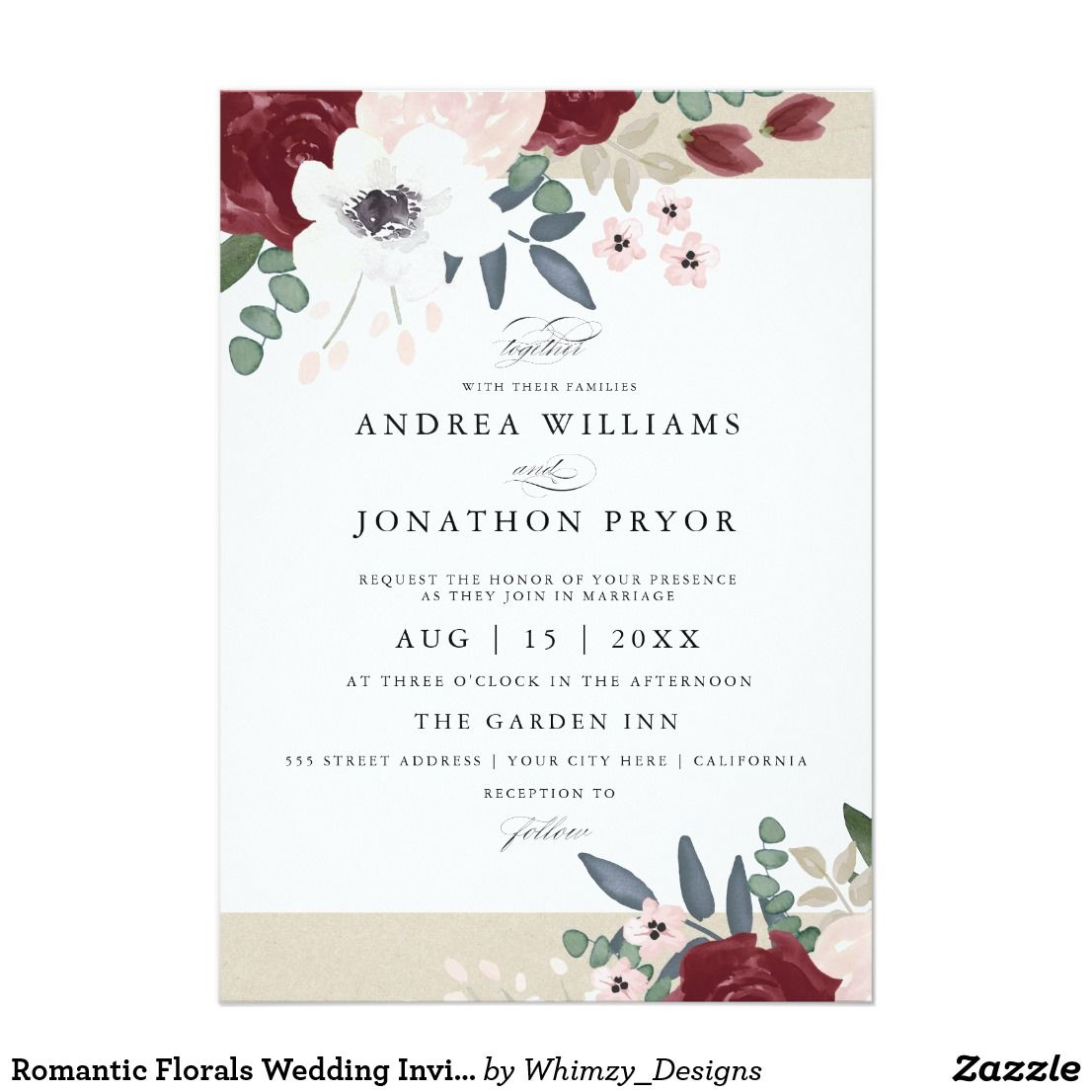 Romantic Florals Wedding Invitation Florals Romantic And Weddings