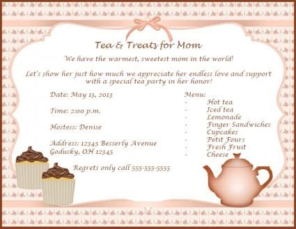 MotherS Day Invitation Templates  Invitations