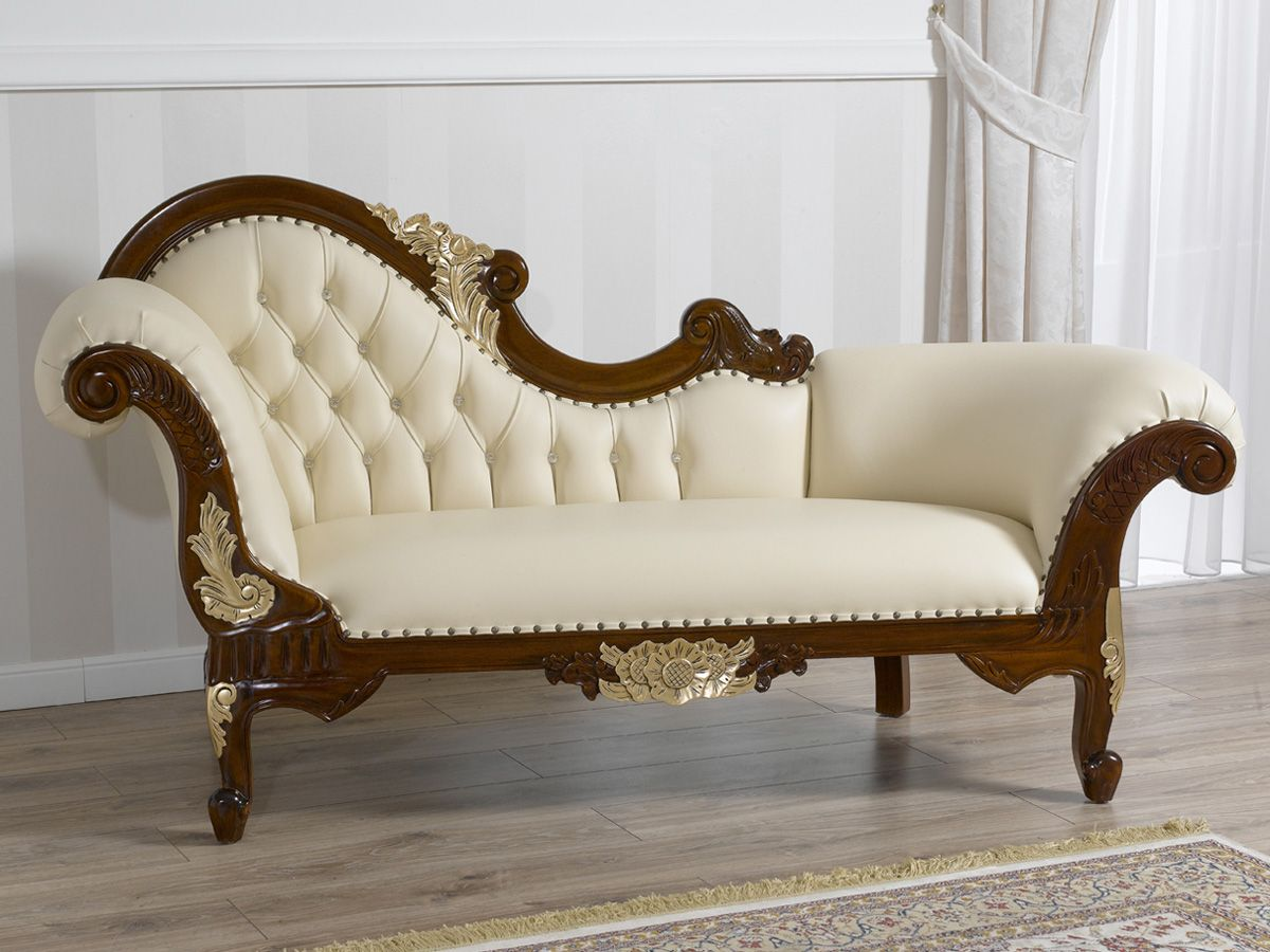 Divano dormeuse chaise longue stile Barocco Inglese noce ...