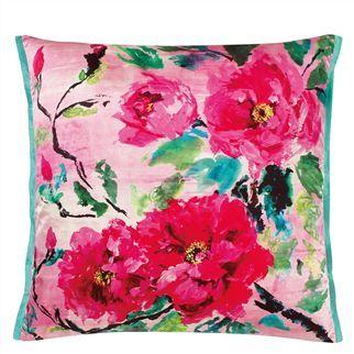 Chinese Peony Fuchsia Throw Pillow Floral Throw Pillows Elegant
