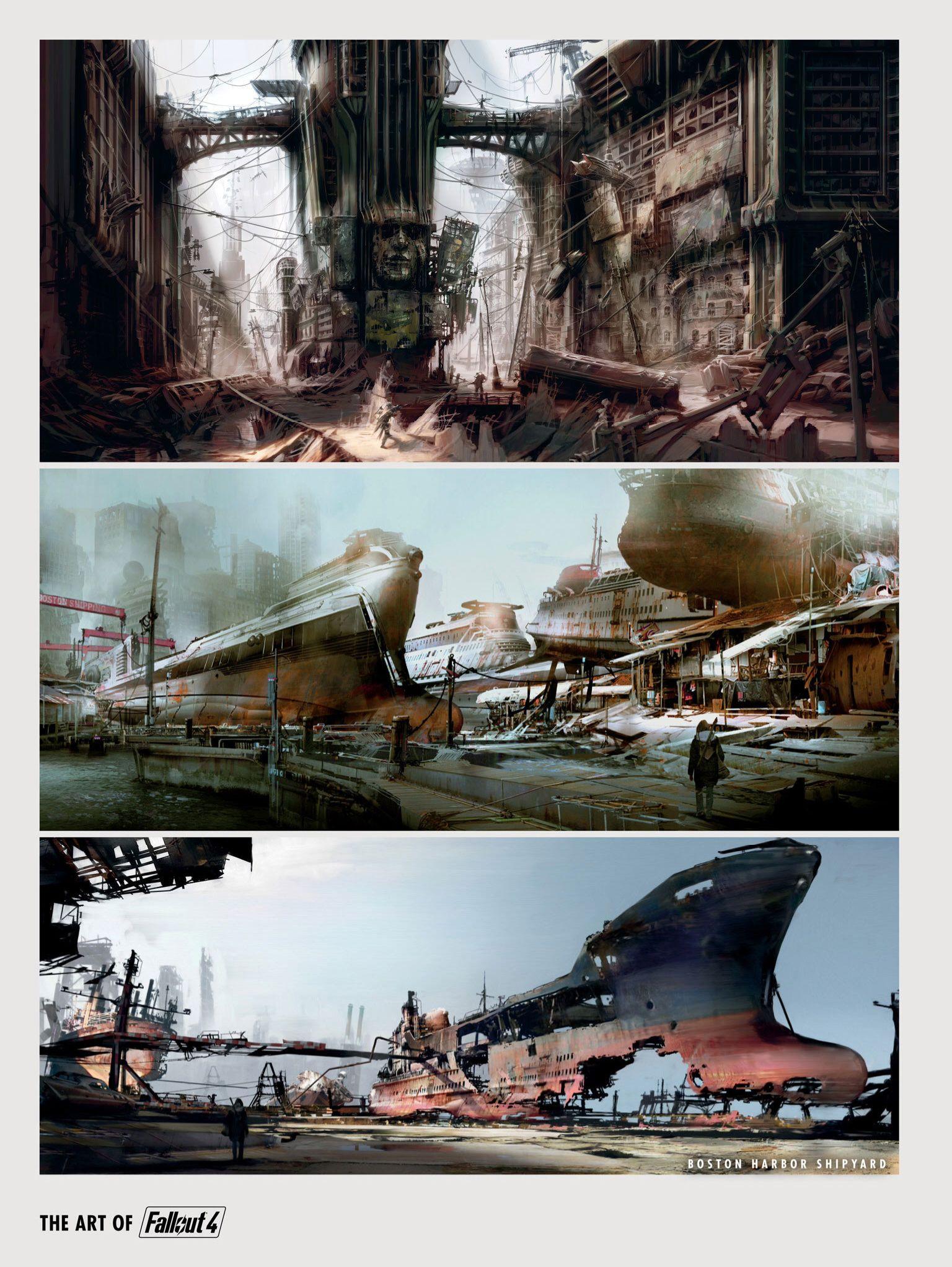 Fallout 4 concept boston harbor shipyard fallout board fallout concept art fallout 4 - Fallout new vegas skyline ...