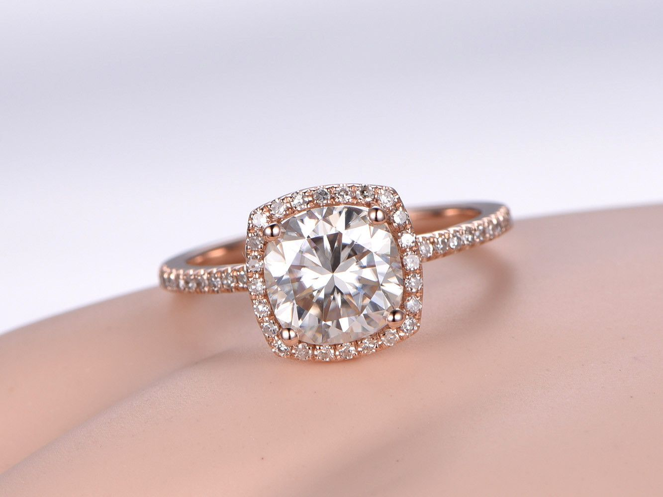 7.5mm Round 1.5ctw Moissanite and Diamond Engagement Ring 14k Rose ...