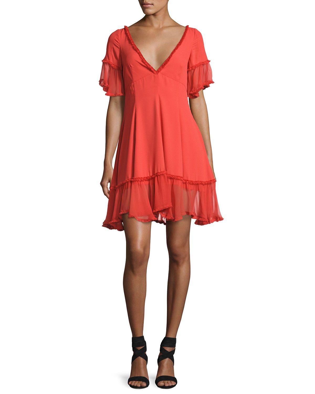 Cinq à sept dianne silk peasant ruffle dress red ruffle dress