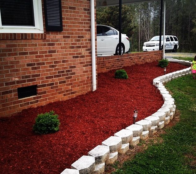 Brick Around Shed With Mulch And Flowers: Gardening And Backyard Ideas