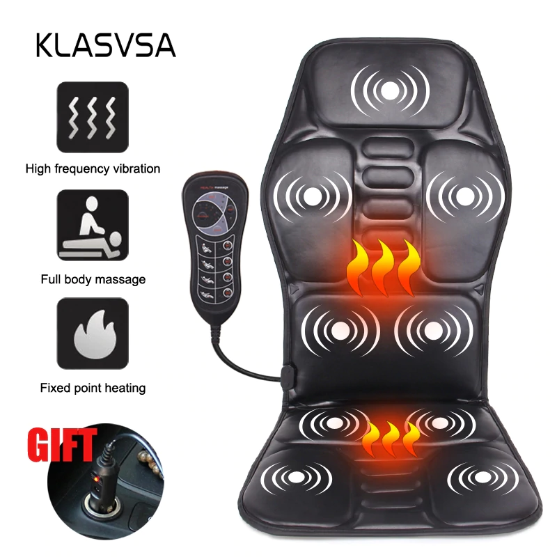 Klasvsa Electric Portable Heating Vibrating Back Massager Chair In Cussion Car Home Office Lumbar Neck Mattress Pai Portable Heating Back Massager Neck Massage