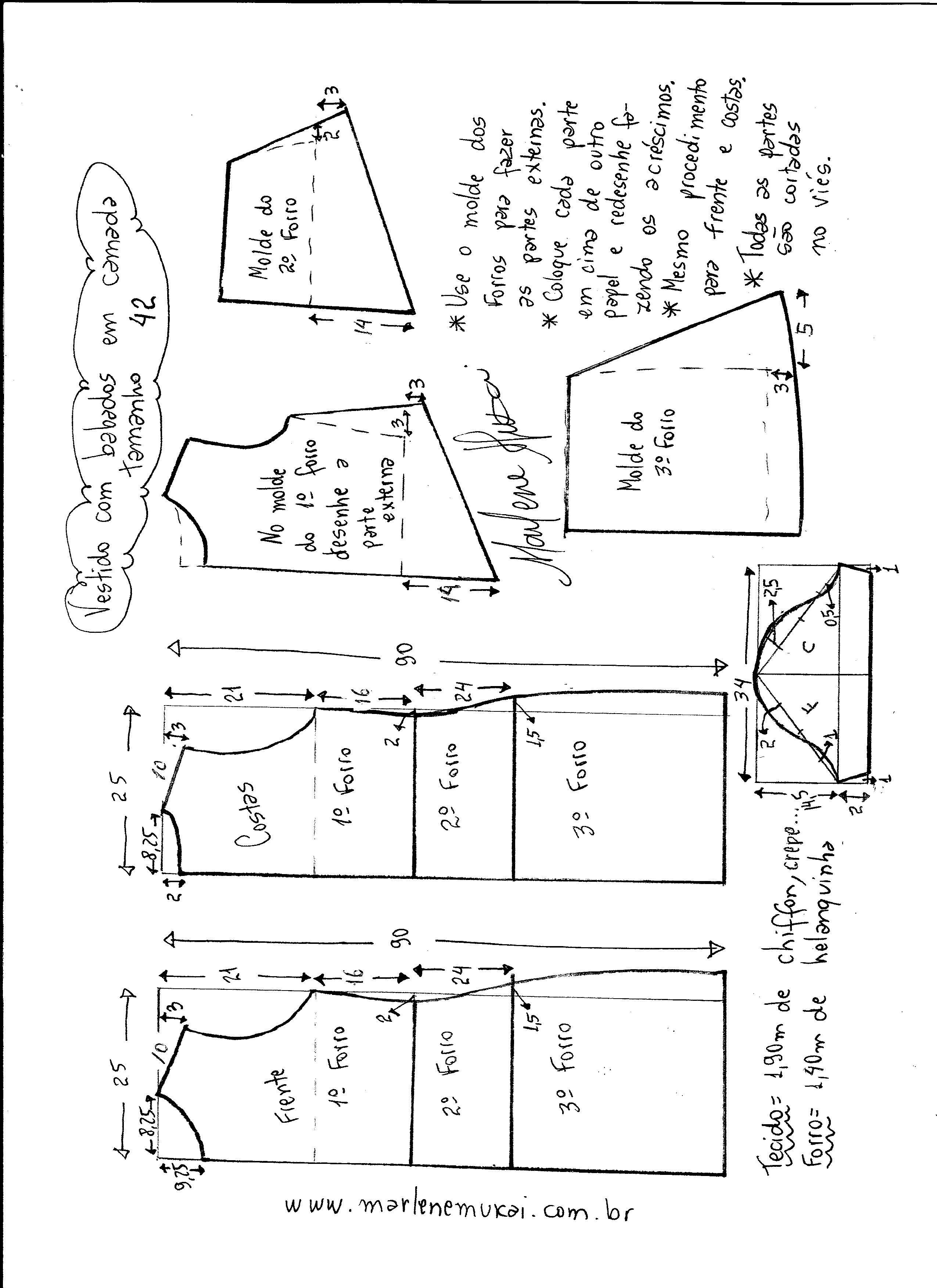 Vestido em camadas | Molde, Costura y Caballos