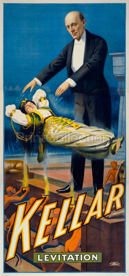 Kellar Levitation New York Show Magic Art Magician Poster New Reproduction 18x24