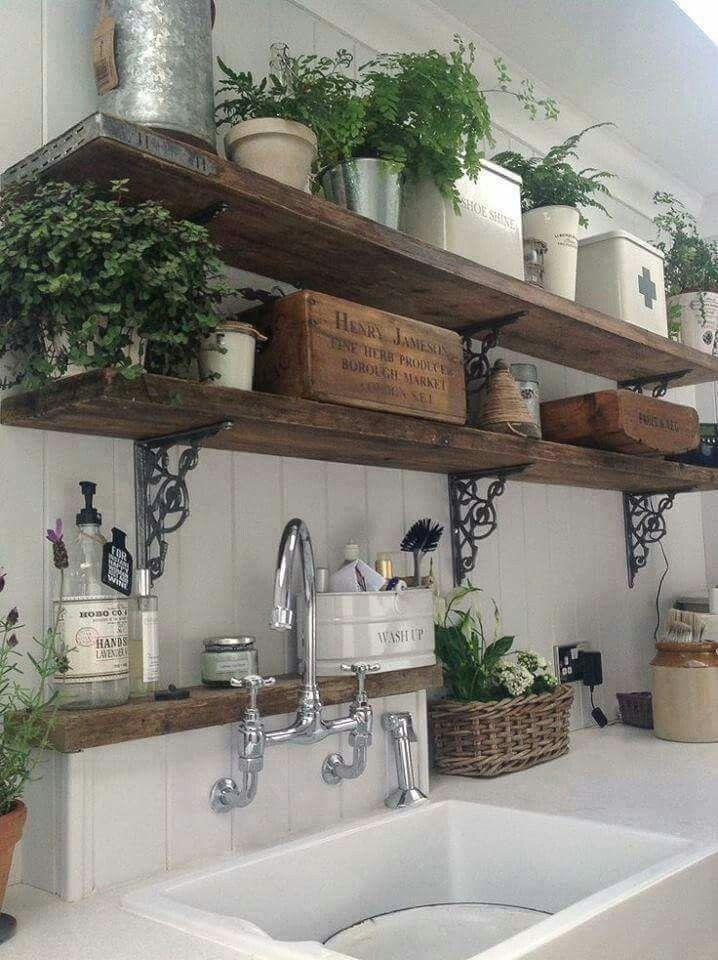 Country Garden Kitchen Decor herb garden in the kitchen. love these shelves | diy home