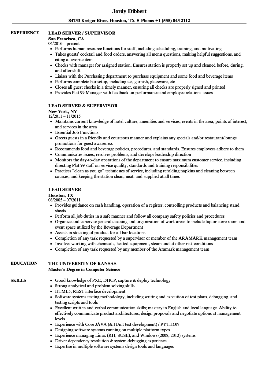 Server Resume Examples in 2020 Project manager resume