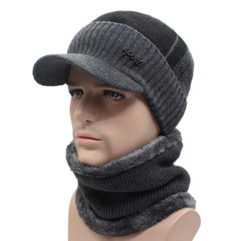 Winter Knitted Beanie Cap With Collar Scarf For Men - Black 94bae56a094c
