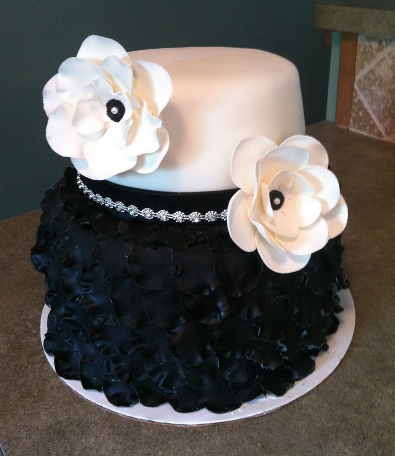 Cool Black And White Birthday Cake 2 Tier Petal Cake With Images Funny Birthday Cards Online Alyptdamsfinfo