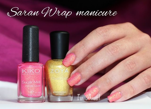 I'm A Nail Art Addict!: Saran Wrap with Sand/Texture nail polishes || Kiko 641 + Zoya Solange ♥