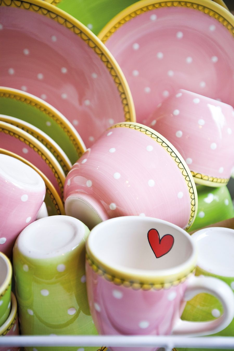 .Polka Dotted Dishes