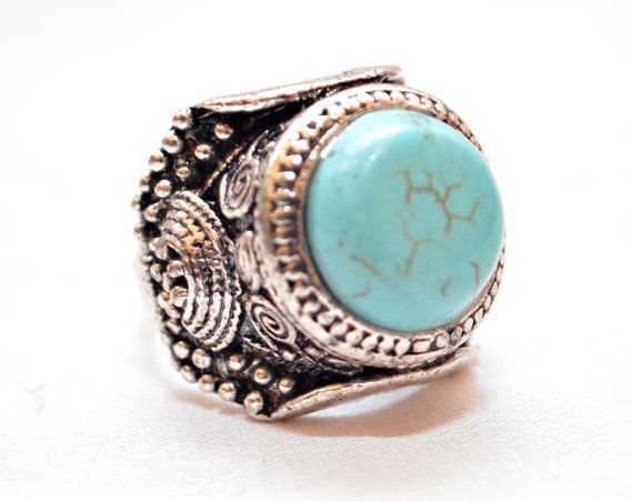 Strong-Willed Designer Ring Natural Turquoise Agate Stone Silver Plated New Ring Jewelry Women Fashion Jewelry