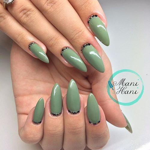 Light Green Stiletto Nails Green Nails Green Nail Designs Olive Nails