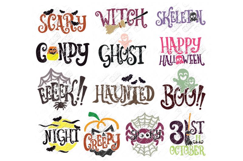 Free Halloween Words Svg Bundle In Svg Dxf Png Jpg Eps Crafter File In 2020 Halloween Words Free Halloween Svg Free Files